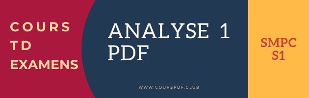 COURS D'ANALYSE 1 SMPC S1 PDF