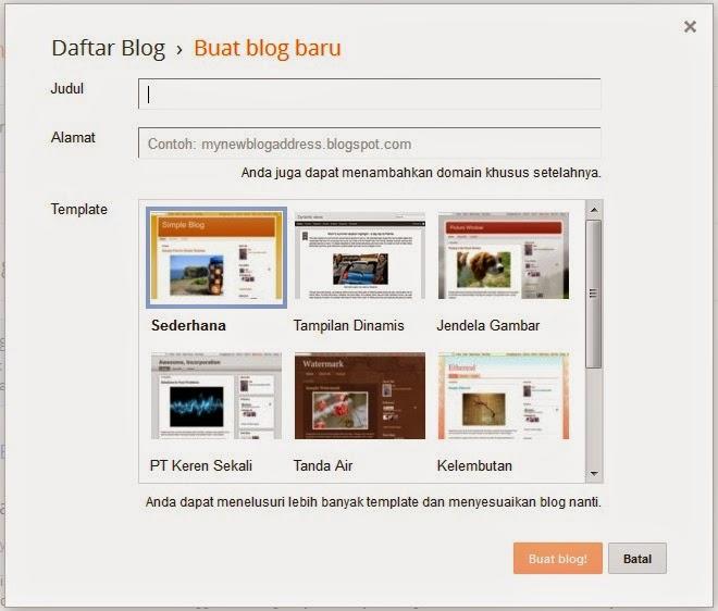 Cara mudah membuat blog dengan blogger