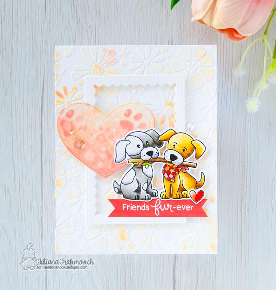 Puppy and Stick Card by Tatiana Trafimovich | Puppy Pals Stamp Sets by Newton's Nook Designs #newtonsnook #handmade
