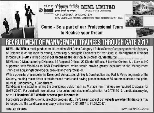 BEML Limited Recruitment 2017