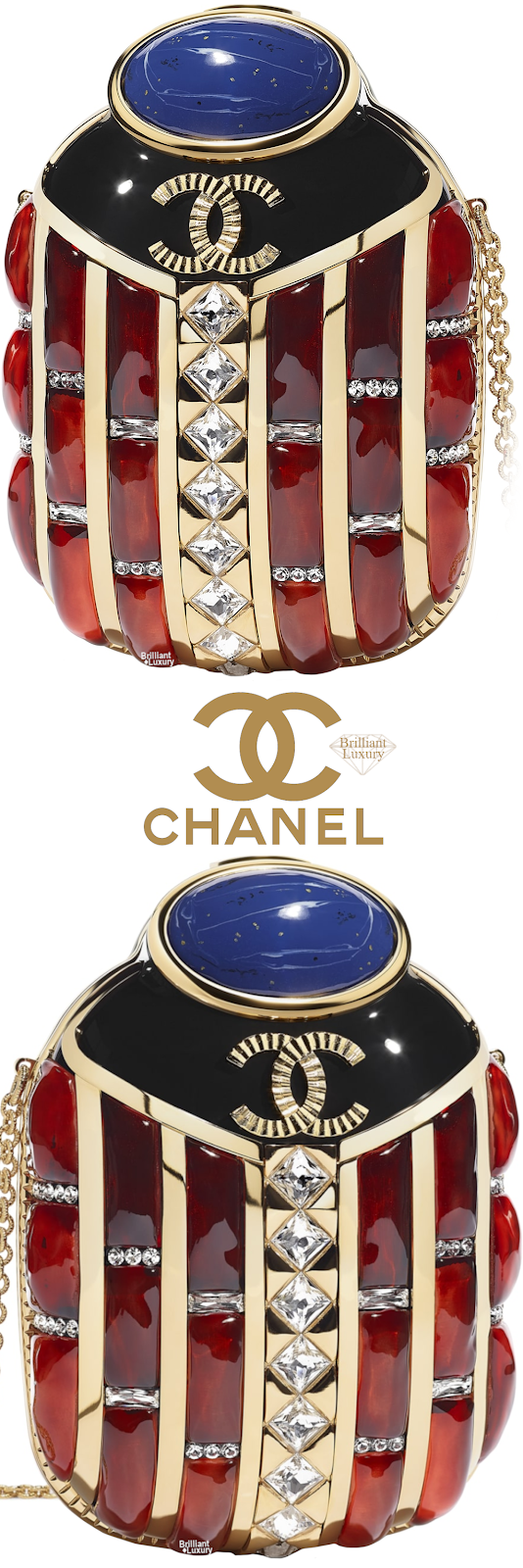 Brilliant Luxury♦Chanel Resing Strass Evening Bag in Gold, Black, Red