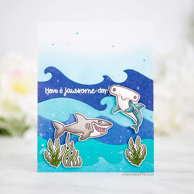 Sunny Studio Stamps: Best Fishes Catch A Wave Dies Ocean Themed Cards by Keeway Tsao