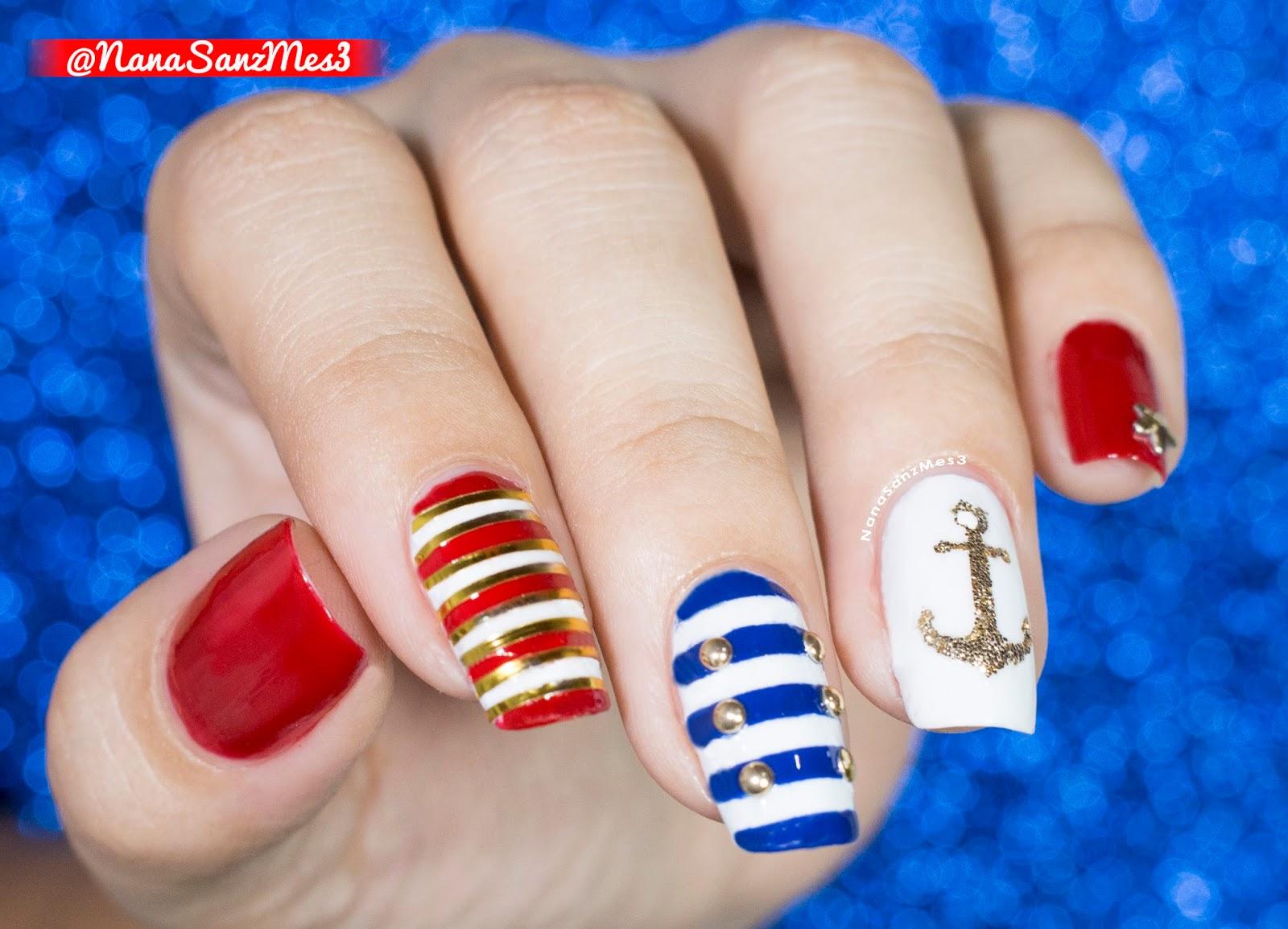 NanaSanzMes3: Sailor nails! - Swatching