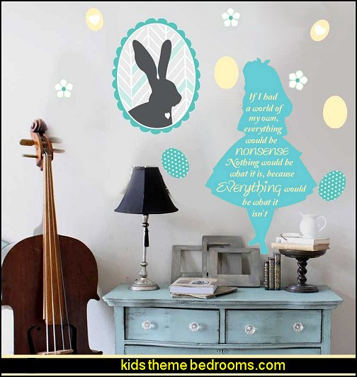 Happy Easter Wall Decal Set- Easter Bunny Wall Deca alice in wonderland wall decal