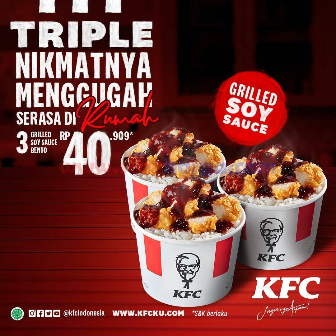Promo KFC TRIPLE GRILLED SOY SAUCE BENTO – Harga Spesial Mulai dari Rp 40.909