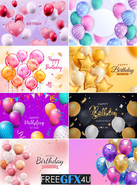 Birthday Background Collection with Colorful Balloons