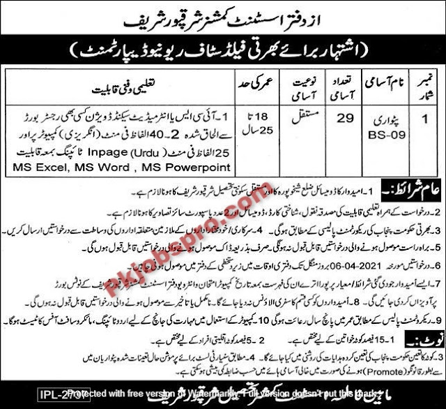 Revenue Department jobs 2021 in Sharqpur Sharif