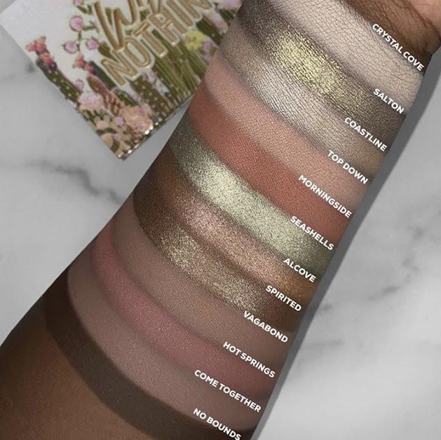 ColourPop Wild Nothing palette swatches on dark skin