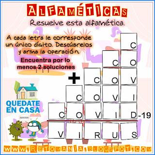 Alfaméticas, Criptosumas, Criptoaritmética, Juego de letras, Desafíos matemáticos, Problemas matemáticos, Problemas de lógica, Covid19, Coronavirus