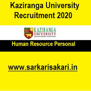 Kaziranga University Recruitment 2020 - Apply For Human Resource Personal Post