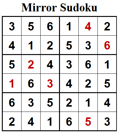 Mirror Sudoku (Mini Sudoku Series #81) Solution