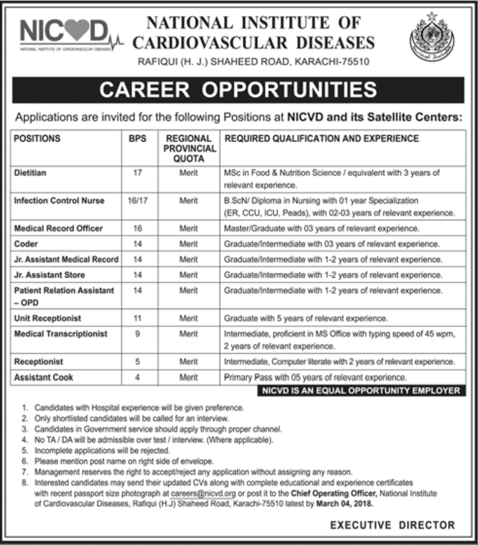 Jobs In National Institute Of Cardiovascular Diseases Karachi 2018 for 15 Posts