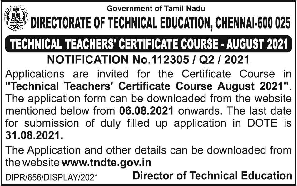 kalvisolai-TECHNICAL TEACHERS CERTIFICATE COURSE AUGUST 2021