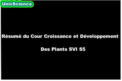 Résumé du Cour Croissance et Développement Des Plants SVI S5