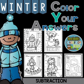 Winter Fun! Basic Subtraction Facts - Color By Numbers at TpT.