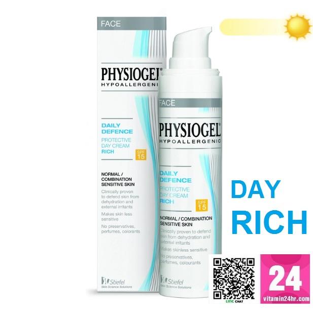 Physiogel Daily Defence Protective Day Cream Rich SPF 15 ขนาด 40มล - เดลี่ ดีเฟนซ์ โพรเทคทีฟ เดย์ ครีม ริช เอสพีเอฟ15  ราคา