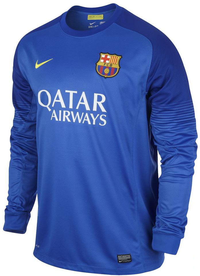 97b8d721980 The Nike FC Barcelona 13-14 Goalkeeper Away Kit is blue with the same  template as the Goalkeeper Home Shirt.