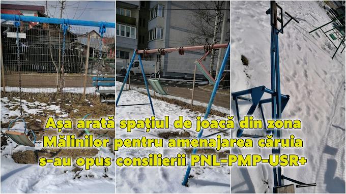 Așa arată spațiul de joacă din zona Mălinilor, pentru amenajarea căruia s-au opus consilierii locali PNL - PMP - USR+