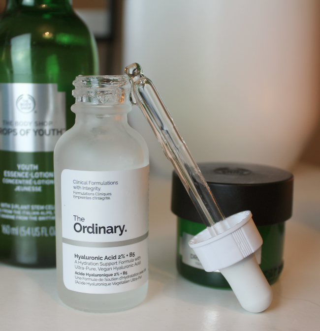 Close up shot of a bottle of The Ordinary's hyaluronic acid