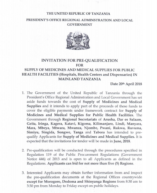 Invitation to supply medicines and medical supplies in mainland invitation for pre qualification for supply of medicines and medical supplies for public health facilities hospitals health centers and dispensaries in stopboris Image collections