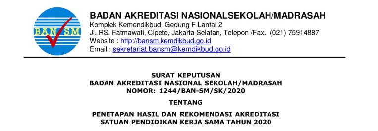 Download SK Penetapan Hasil Akreditasi SPK  SK PENETAPAN HASIL AKREDITASI SPK TAHUN 2020