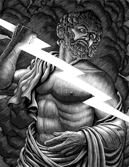 03-Zeus-Jupiter-Lightening-Douglas-Smith-Scratchboard-Drawings-Through-Time-and-Lives-www-designstack-co