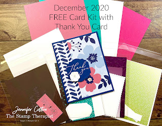 FREE class kit offered EVERY MONTH with an online order!!  Jennifer Cotton, Stampin' Up! demonstrator.  #StampinUp #StampTherapist