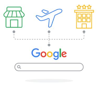 Illustration, das ein Flugzeug zeigt mit Verbindungslinien zu Hotels und Geschäften