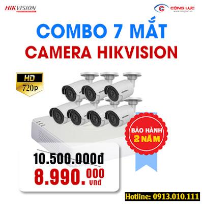 Trọn bộ 7 mắt Camera Hikvision 1.0 megapixel giá rẻ