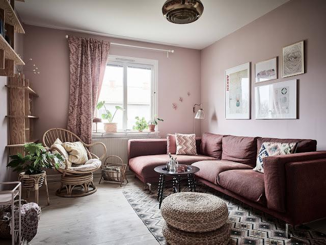 Sala Linda em tons de rosa