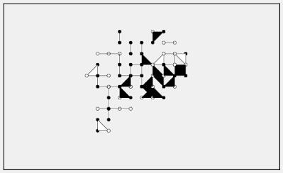 Creative coding of random walk creates a fake board game.