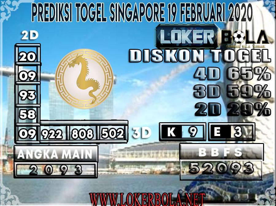 PREDIKSI TOGEL SINGAPORE LOKERBOLA 19 FEBRUARI 2020