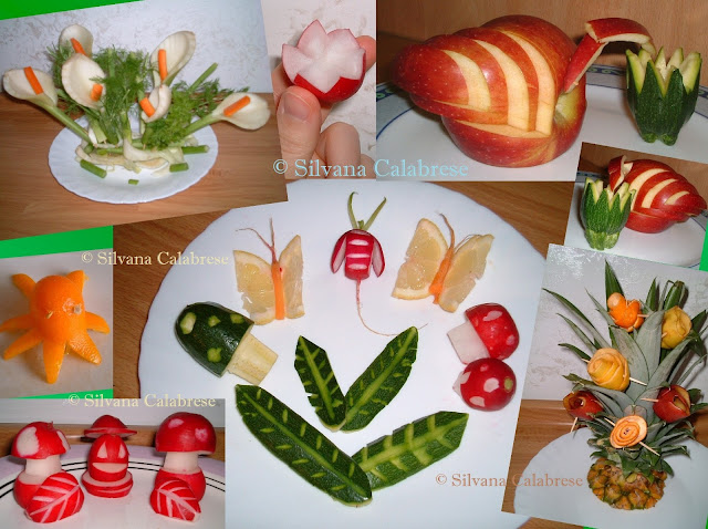 Calla lily with con fennels and carrots, starlike radish, swan with apple and bud with zucchini, small octupus with kumquat (chinese mandarin), little mushrooms with radish and zucchini, butterflies with lemons and carrots, leaves with zucchini, beetle with radish, bouquet with pineapple tutf and roses with citrus and apple peels.