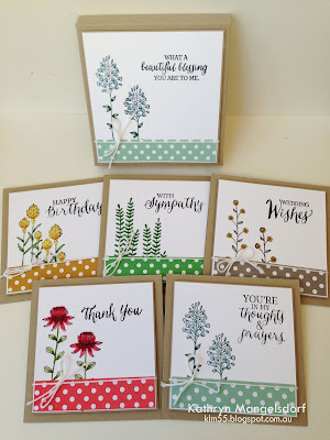 "Kathryn's Stampin' World - Stampin' Up! Flowering Fields,  Rose Wonder, 2016SaleABration, 4"" Square Gift Box and matching Cards by Kathryn Mangelsdorf"