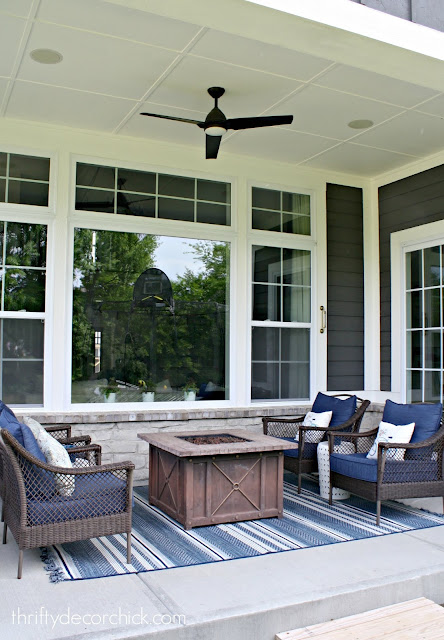 Blue and white outdoor decor on patio