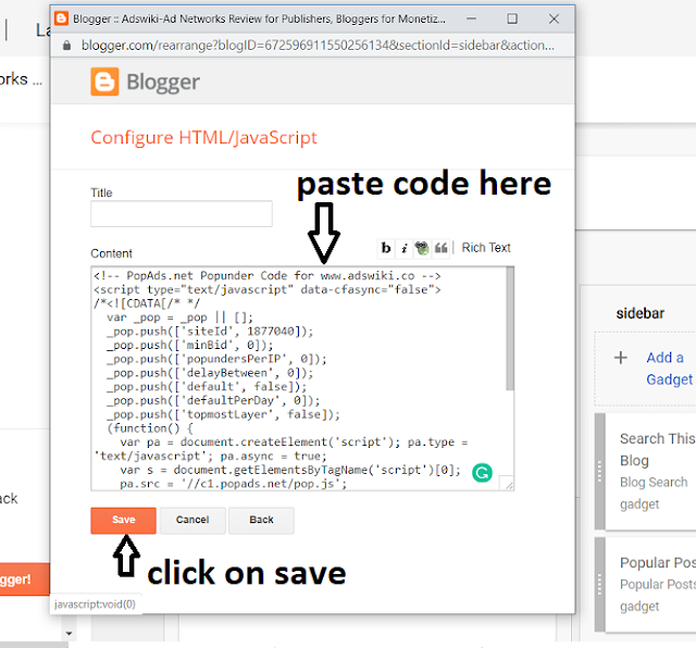 How to add html/javascript advertising code to blogger, Blogspot?