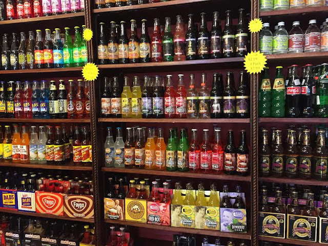 Wall of sodas at Maumee Valley Chocolate and Candy in Ohio