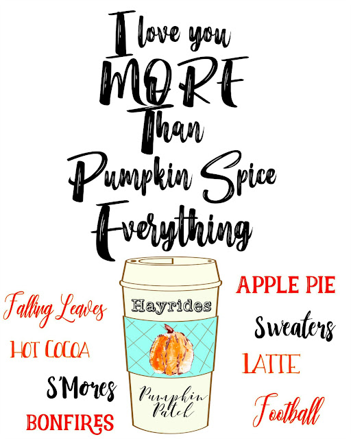 I Love You More Than Pumpkin Spice Everything Fall Printable coffee mug fall words collage