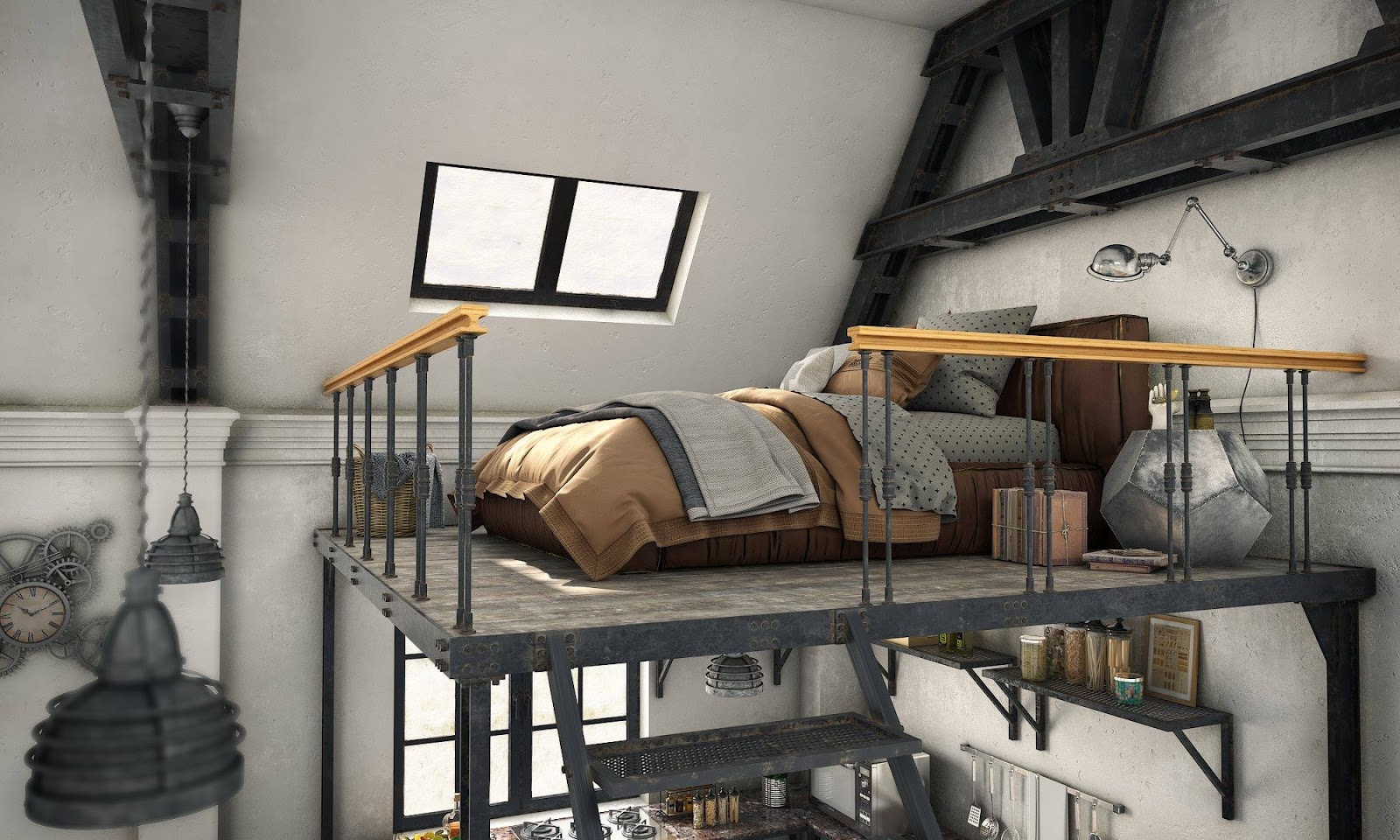 Free 3d loft interior scene by di p thu free stuffs for for Vray interior scene