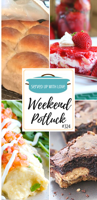 Weekend Potluck featured recipes include Strawberry Jello Salad, Sam's Homemade Hot Rolls, Peanut Butter Cup Cookie Dough Brownies, and Creamy Shrimp Enchiladas.