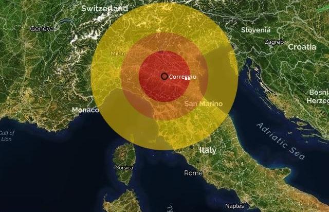 إيطاليا، زلزال بقوة 3،4 درجة يضرب محافظة ريجيو إيميليا