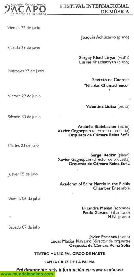 Programa Festival Internacional de música de La Palma 2018