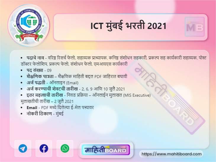ICT Mumbai Recruitment 2021