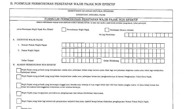 Permohonan NPWP Non Efektif