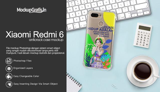 Mockup Case Anti Crack Xiaomi Redmi 6
