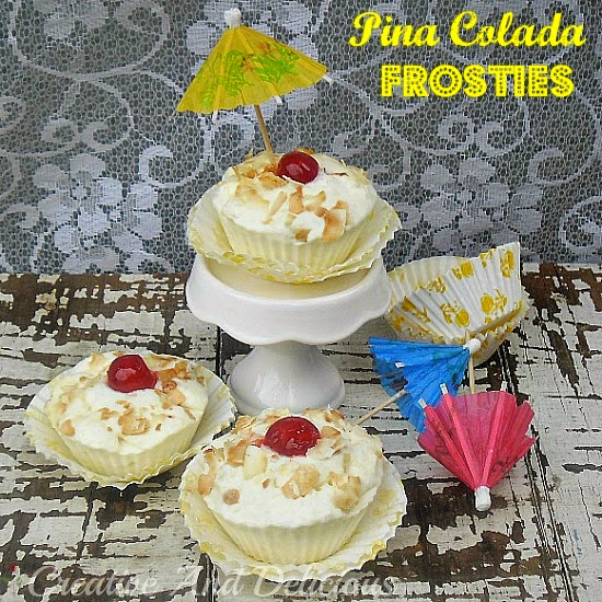 Pina Colada Frosties ~ deliciously tropical!  #PinaColada #FrozenDesserts