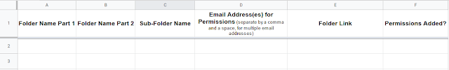 Use data within a Google Sheet to bulk create Folders and add permissions