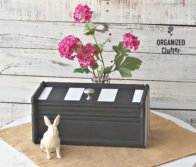 Upcycling Fun With A Thrift Shop Recipe Box And Stripes #dixiebellepaint #frogtape #upcycle #stripes #thriftshopfinds