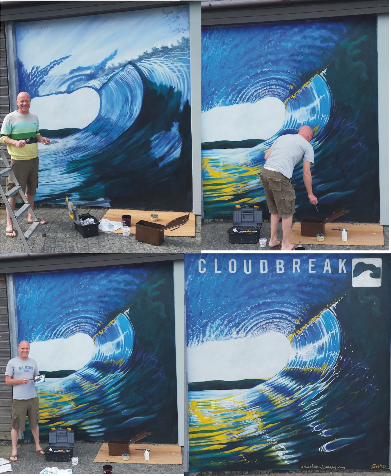 a r t and s u r f a few shots of the stages of the cloudbreak surf shop mural at saltash cornwall