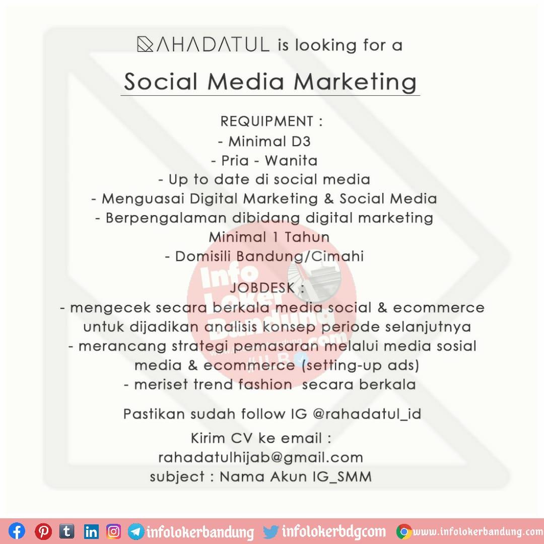Lowongan Kerja Social Media Marketing Rahadatul Hijab Bandung November 2020